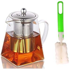YISPIRIN Glas-Teekanne mit Teesieb, hitzebeständige Glas-Teekanne mit herausnehmbarem Teesieb, Borosilikatglas, klare Teekanne für losen Tee und blühenden Tee Herdplattensichere Teekanne 750ML