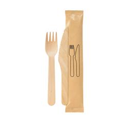DUNI Take away, Holzbesteck Set, BioPak, 2-teilig, Set mit Gabel und Messer, 1 Karton = 250 Sets