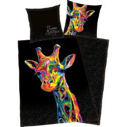 Wendebettwäsche Giraffe, mit buntem Giraffenkopf 1 St. x 135 cm x 200 cm