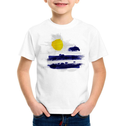 style3 Print-Shirt Kinder T-Shirt Flagge Uruguay Fußball Sport Flag WM EM Fahne weiß 104