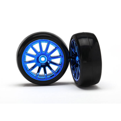 Traxxas Slick-Reifen auf Felge blau (2 Stk.)