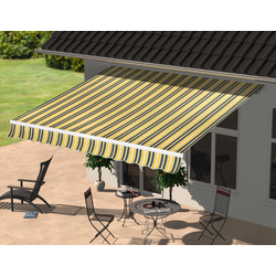 KONIFERA Gelenkarmmarkise, Breite/Ausfall: 300/250 cm gelb Gelenkarm-Markisen Markisen Garten Balkon Gelenkarmmarkise