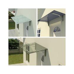 Fischer und Adamek Vordach Glasvordach Edelstahl VSG Türvordach Glas Winkel Klar Glas V2A Haustür Milchglas 275 cm x 90 cm