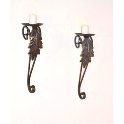 HOFMANN LIVING AND MORE Wandkerzenhalter, Kerzen-Wandleuchter, Kerzenhalter, Kerzenleuchter hängend, Wanddeko schwarz Wanddekoration Deko Wohnaccessoires Wandkerzenhalter
