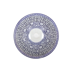 Casa Moro Waschbecken Mediterranes Keramik-Waschbecken Fes92 rund Ø 40 cm bunt Höhe 18 cm Handmade Waschschale aus Marokko, Handwaschbecken für Bad Waschtisch Gäste-WC, Einfach schöner Wohnen, WB40302, Handmade