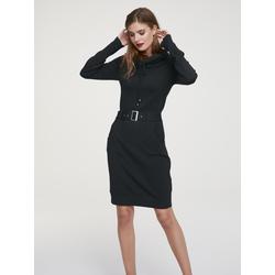 Strickkleid mit Gürtel schwarz Damen Knielange Kleider