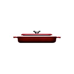 WOLL Steakpfanne Steakpfanne mit Rillen 24 x 24 cm Iron, Gusseisen (2-tlg), 1 Steakpfanne mit Steakpresse rot