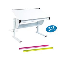 ebuy24 Schreibtisch Matkan Schreibtisch weiss, weiss/pink/grün.