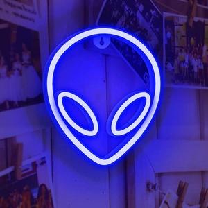 Alien Leuchtreklamen LED Alien Neonzeichen,Alien Neonlicht für Schlafzimmer Wand Home Bar Kunst Dekoration (Blau)