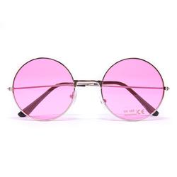 Hippie Brille John Lennon Retro Sonnenbrille Herren Damen 60er 70er Jahre Party Fasching Karneval - rosa