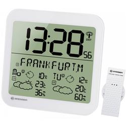 BRESSER Wetterstation MyTime Meteotime LCD Wetter-Wanduhr weiß