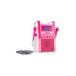 Auna KA8P-V2 Karaokeanlage CD-Player 2x Mikrofon pink inkl. 3x Karaoke-CD Party-Lautsprecher