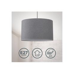 B.K.Licht LED Pendelleuchte, Hängeleuchte, LED Hängelampe Stoff Textil Lampenschirm Deckenlampe Esstisch Wohnzimmer E27 grau