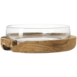 LEONARDO Obstschale Terra, Glas, Ø 28 cm, mit Teaksockel Ø 39 cm x 12 cm