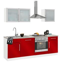 wiho Küchen Küchenzeile Aachen, ohne E-Geräte, Breite 220 cm rot