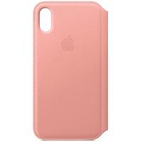 Apple iPhone X Leder Folio Case hellrosa