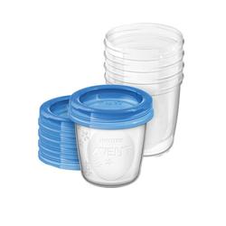 Philips AVENT Milchbehälter Muttermilch Becher SCF619/05, 5 x 180 ml inkl.