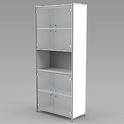 ARTLINE Modulschrank 5-OH, 2-OH Glastüren/1-OH offen/2-OH Glastüren, 80cm