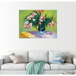 Posterlounge Wandbild, Majolika Glas mit Oleanderzweig 80 cm x 60 cm