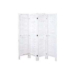 MCW Paravent MCW-G30-160, 4-teiliger Paravent, Fensterladenoptik weiß