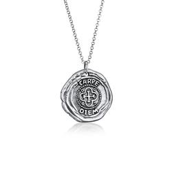Halskette Herren Antike Münze Rund Coin Kreuz 925 Silber Kuzzoi Schwarz