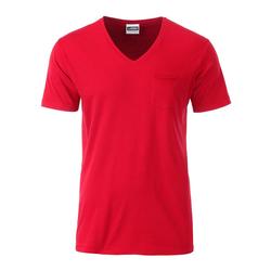 Herren Bio T-Shirt mit Brusttasche | James & Nicholson rot 3XL