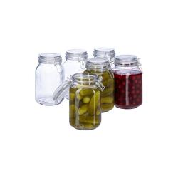 relaxdays Einmachglas Einmachglas 1,5 L, 6er-Set, Glas