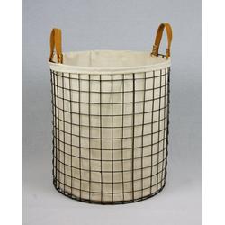 animal-design Wäschebox, Wäschekorb 75L aus Metall geflochten, rund Dekokorb