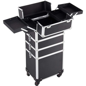 Yaheetech Friseurkoffer Trolley Make up Friseur Kosmetik Rollkoffer Beauty-Rollwagen Box aus Aluminium Eitel Make-up Koffer