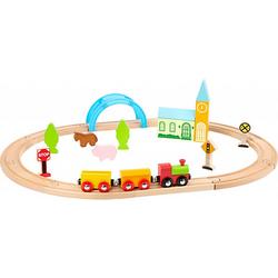 Holzeisenbahn Stadt und Land bunt