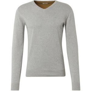 Tom Tailor Herren V-Neck Strickpullover Melange Basic- Regular Fit Regular Fit Light Soft Grau 3XL