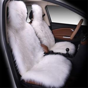 1er Universal Lammfellbezug Auto Sitzbezug Lammfell Vollbezug Vordersitzbezug (Weiß)