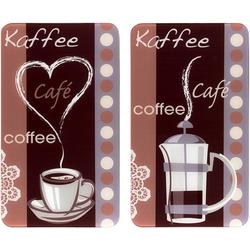WENKO Herd-Abdeckplatte Kaffeeduft, Glas, (Set, 2 tlg), Spezialfüße