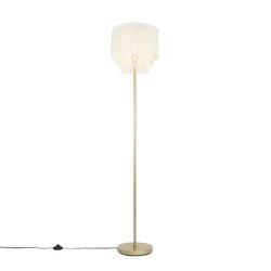 Orientalische Stehlampe Gold Creme Schirm mit Fransen - Franxa