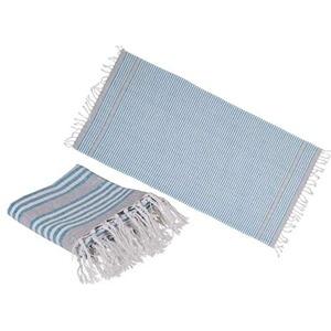 Idealtrend Fouta Hamamtuch in Blau 80x169 cm Handtuch Strandtuch Saunatuch Badetuch