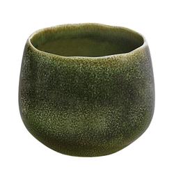 Dehner Übertopf Linn, lasierte Keramik, dunkelgrün Ø 21 cm x 19 cm