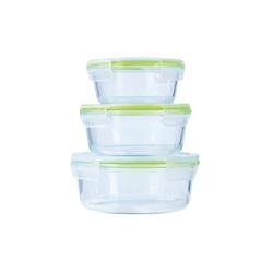 GOURMETmaxx Frischhaltedose GOURMETmaxx Glas-Frischhaltedosen rund Klick-It 3er Set, (6-tlg)