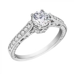 Vintage Verlobungsring mit Moissanit 0.75ct und voll von Diamanten Lucrece