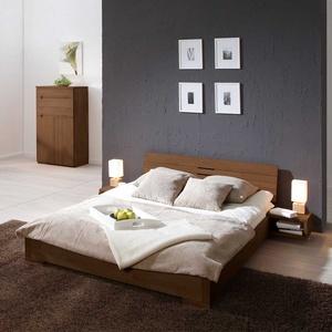 Doppelbett aus Buche Nussbaumfarben