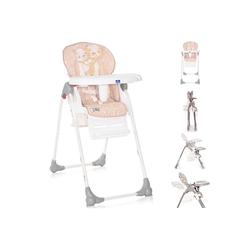 Lorelli Hochstuhl Kinderhochstuhl Dulce, Sitzhöhe verstellbar, faltbar, 5-Punkt-Gurt, Korb rosa 52 cm x 106 cm x 85 cm