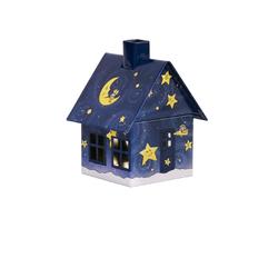 Crottendorfer Räucherhaus 2196, Gute Nacht Haus, Räucherhäuschen aus Metall für Standardräucherkerzen