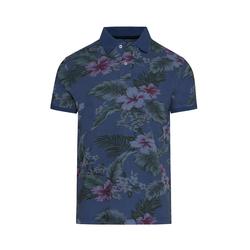 Lavard Blaues Poloshirt mit Blumen-Muster 72980  S
