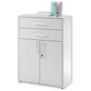 Stella Trading PRONTO Aktenschrank abschließbar, lichtgrau - Büroschrank mit Schubladen und Türen - Modernes Büromöbel Komplettset - 80 x 111 x 35 cm (B/H/T)
