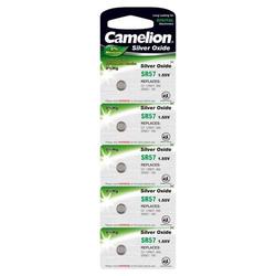 Camelion Batterie für Uhren,Taschenrechner SR57/SR57W/G7/LR927/395/195/SR927 5er Blister, 1,55V, Silberoxid