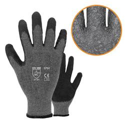 Asatex 3760 Arbeitshandschuhe - Strickhandschuhe mit Latexbeschichtung - Gr. 9 / L - 12 Paar
