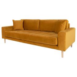 Sofa trzyosobowa Dagmarri 210 cm musztardowy welur