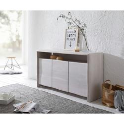 DELIFE Sideboard Live-Edge, 147 cm Akazie White Washed 3 Türen 1 Fach Massiv Sideboard