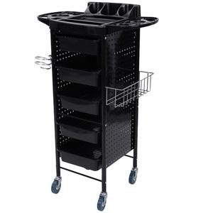 BigButterflyde Friseur Salon Rollwagen Friseurstuhl Friseurwagen Arbeitswagen, Multifunktion Servierwagen 5 Stufe Stapelboy