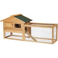 Relaxdays Hasenstall für draußen, mit Freigehege, Holz, Kleintierstall Kaninchen, Meerschweinchen, 71x154x51,5 cm, Natur