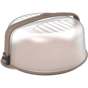 BIESSE Trendy Runder Kuchenbehälter mit Servierboden, Plastik, Grau, 37x37x16